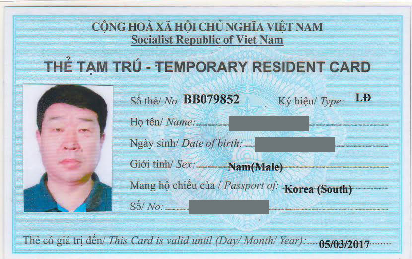 Hồ sơ xin cấp thẻ tạm trú cho người nước ngoài