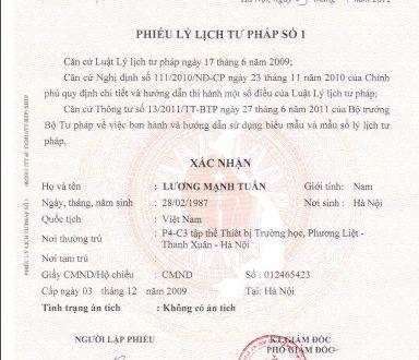 Dịch vụ làm phiếu lý lịch tư pháp tại Hà Nội