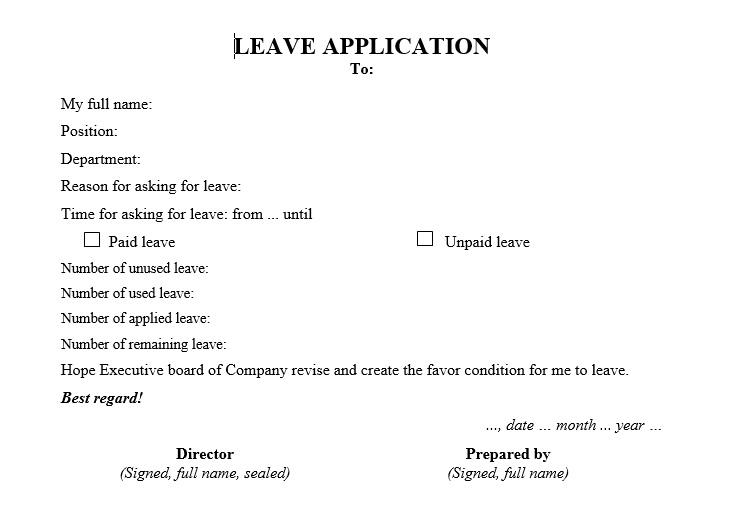 Đơn xin nghỉ phép bằng tiếng Anh