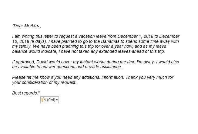 đơn xin nghỉ phép tiếng anh bằng email