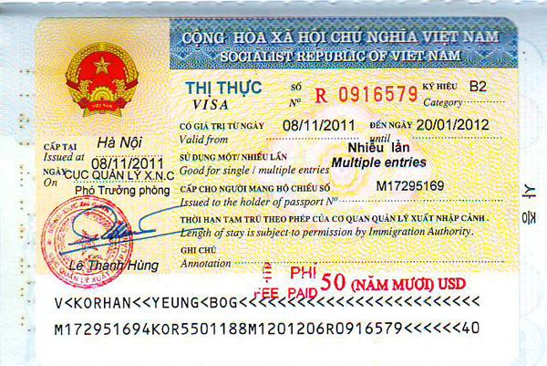 Thủ tục xin visa vào Việt Nam bạn nên biết