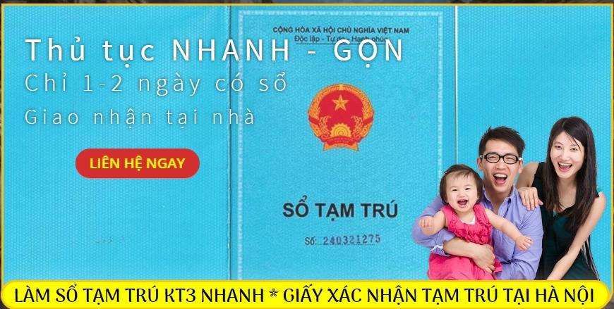 Dịch vụ làm sổ tạm trú KT3 tại Hà Nội nhanh giá rẻ nhất
