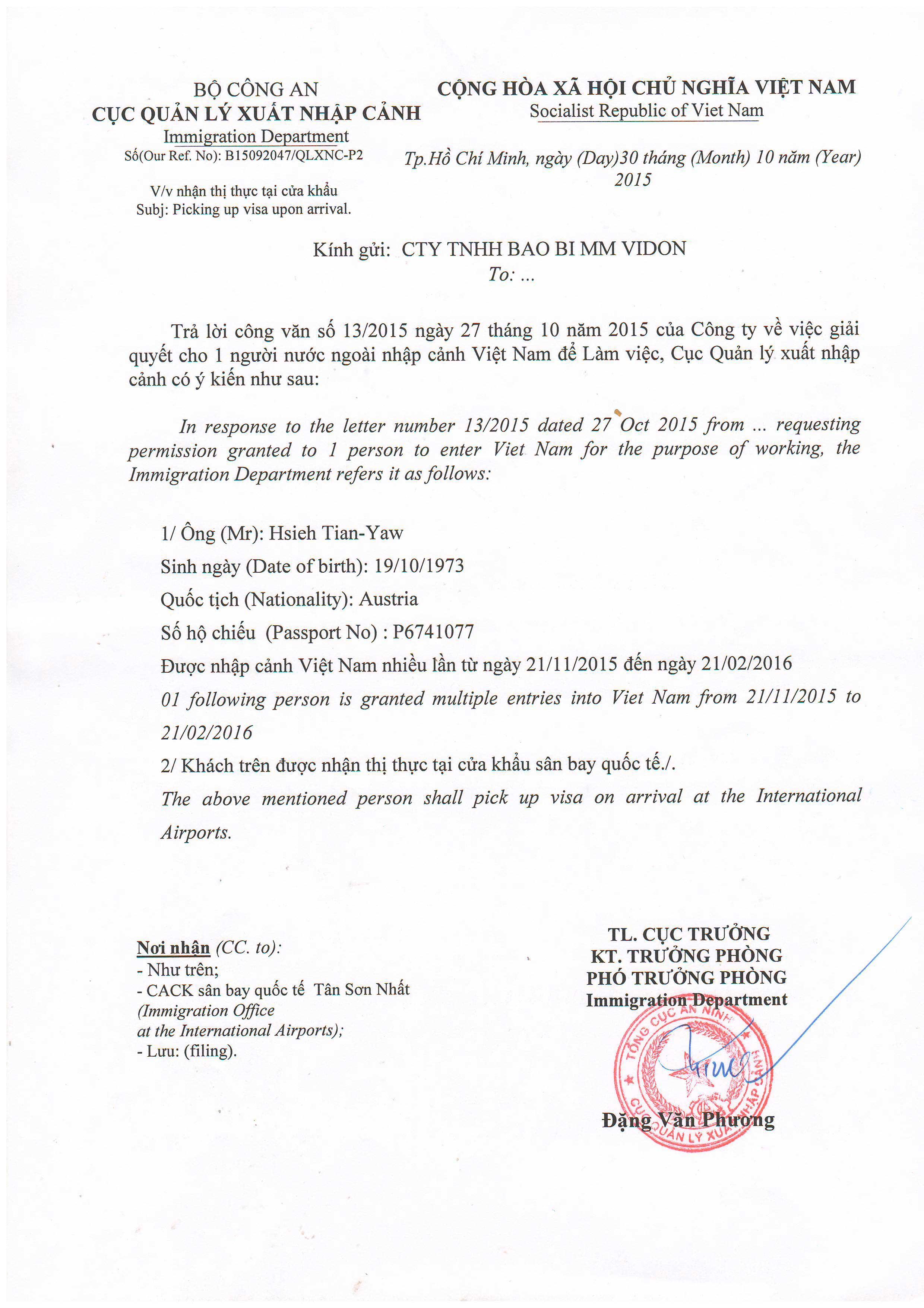 Xin công văn nhập cảnh nhanh chóng tại Hà Nội